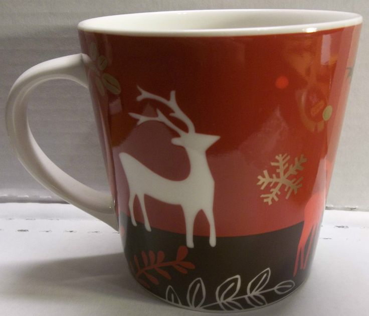 Red 2009 Starbucks Christmas Mug Reindeer Snowflakes Coffee Beans Deer | eBay