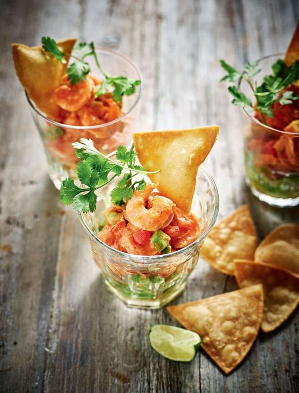 Rick Stein has given the humble Prawn Cocktail a spicy Mexican makeover in his cookbook, The Road to Mexico. Swapping Marie Rose sauce for an avocado & smokey chipotle chilli sauce takes this simple seafood starter to a whole new level. Impress guests with this quick and delicious recipe fit for a Mexican celebration or Day of the Dead dinner party.