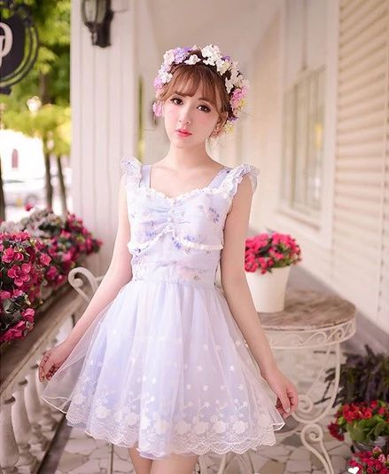 Even the European leg of small fragrant wind Liz Lisa Full lace bow pearl white Formica ladies dress