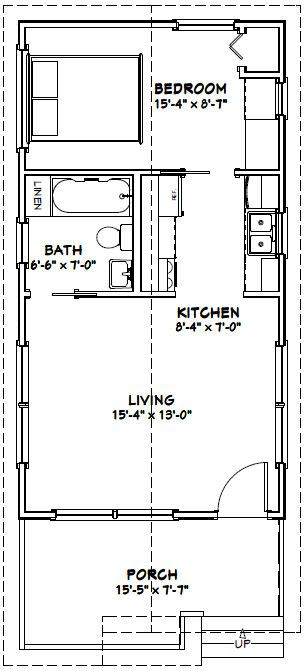 Tiny Home Designs: 16x30 1 Bedroom House -- #16X30H1 -- 480 Sq Ft