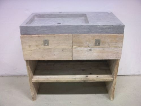 ≥ Steigerhouten meubel wasbak waskom natuursteen fontein - Badkamer | Badkamermeubels - Marktplaats.nl