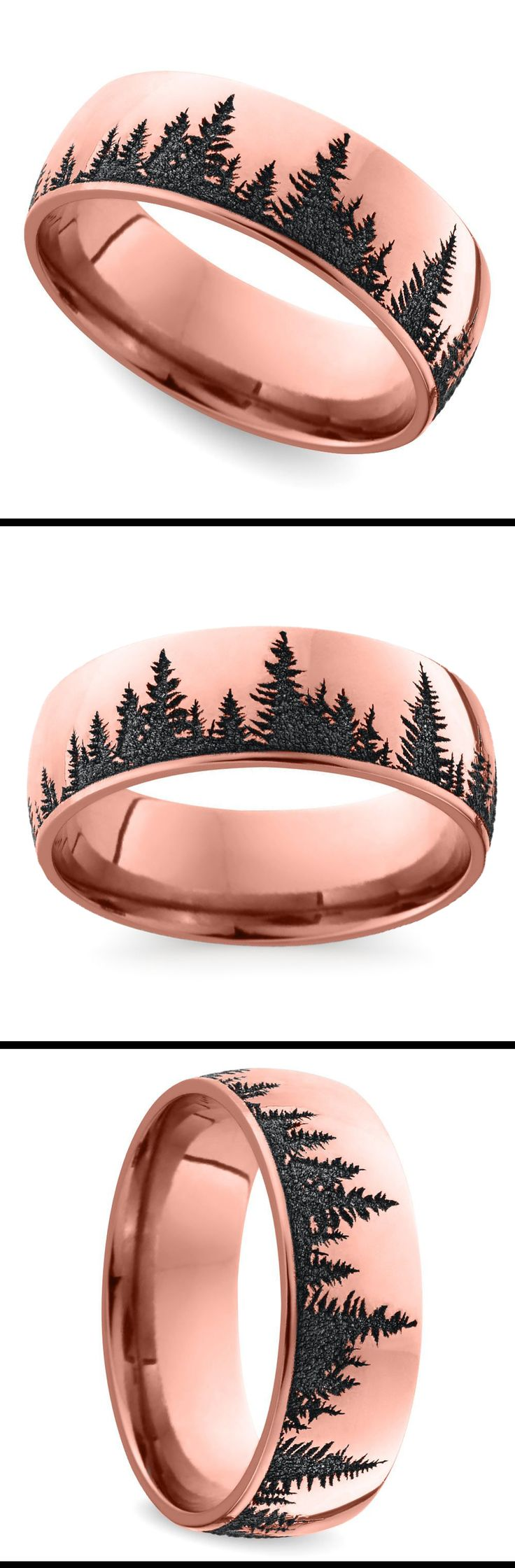 Pine Forest Pattern Mens Ring
