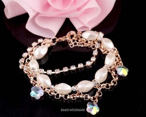 Smooth Pearl Full Rhinestones Crystal Flower Charms Link Chain Bracelet Hot