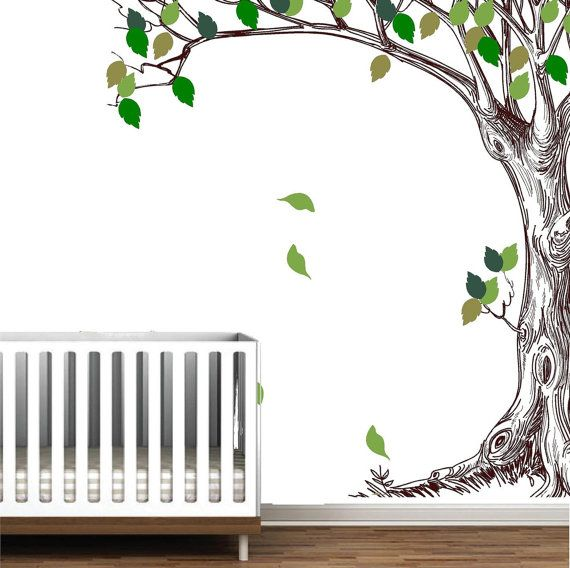 Corner trees branches birch peel stick wall mural decal for Birch trees wall mural