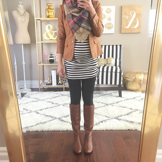 Love the boots with leggings, Parisian stripes, structured jacket, & plaid scarf.