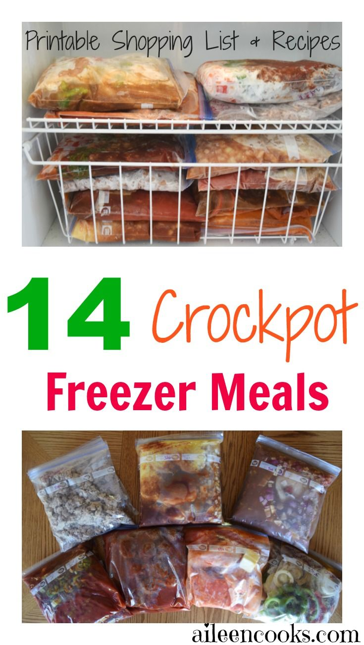 Make 14 crockpot freezer meals in 3 hours with this crockpot freezer meal plan from aileencooks.com that includes a printable shopping list and recipes. via @aileencooks