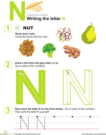 Worksheets: N is for Nuts! Practice Writing the Letter NWriting Practice, Letters N, Letters Crafts, Alphabet Letters, Hands Writing, Practice Writing, Letters Learning, Nutty Worksheets, Handwriting Sheet