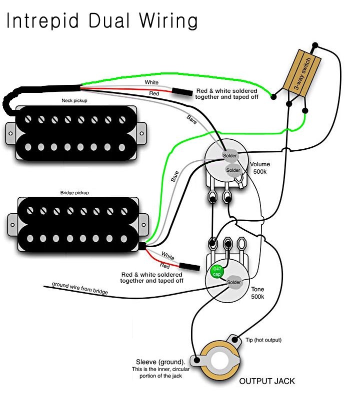 B Guitar Two Pickup Wiring Diagram