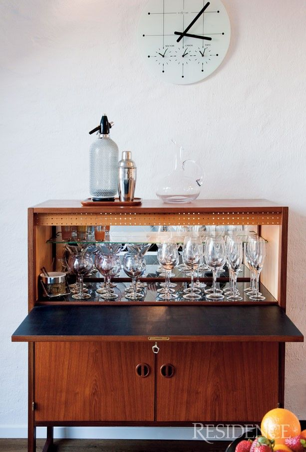 1960u0027s Liquor Cabinet. A Vintage Glass Ice Bucket Would Look Great In One  Of These