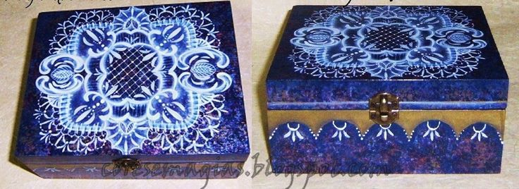 Pintura de caixa com  imitação de rendas e falsos acabamentos-Paint box with imitation lace and false finishes.