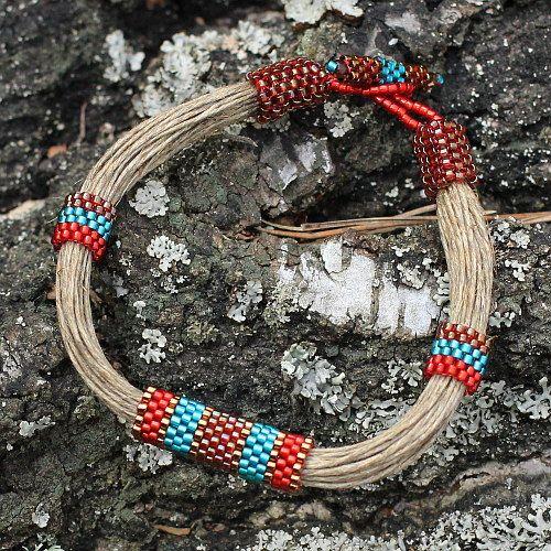 Lino seme perline colori brillanti bracciale di Naryajewelry