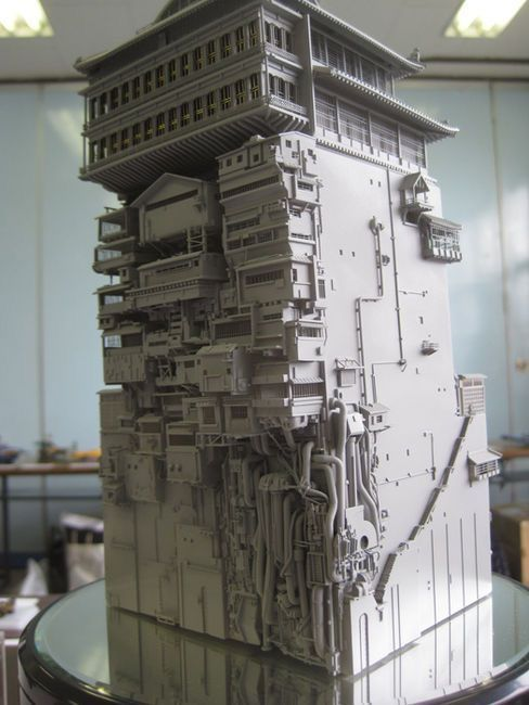 Although Spirited Away is far from a cyberpunk movie this handmade model of the bath house definitely gives off the vibe