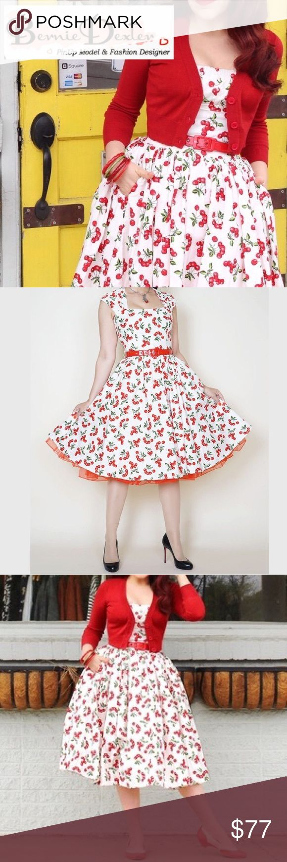ModCloth Bernie Dexter Cherry Print Retro Dress ModCloth Bernie Dexter Cherry Print Retro Dress - Size 12. NWOT and includes the red belt (not the red tulle). Adorable rockabilly Holiday party dress! Bust: 20 inches Waist: 17 inches Total length: 40 inches ModCloth Dresses