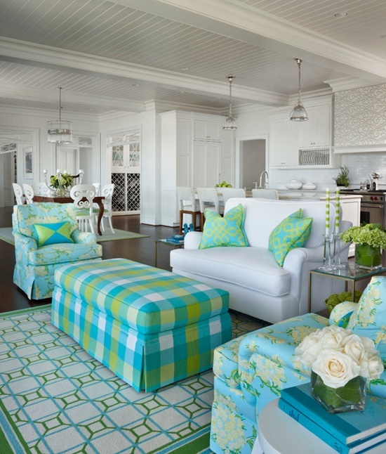 Living Room.  Home Decor.  Interior Decorating.  Aqua and green.