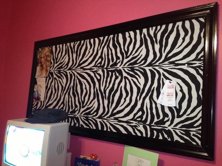 Giant Zebra Bulletin Board Teen Bedroom Tween Art