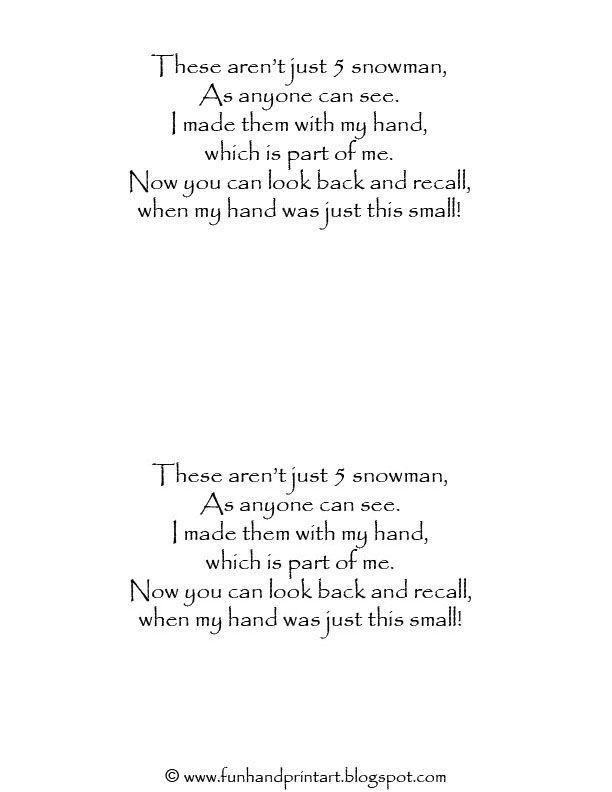 Handprint Snowman with Poem - Fun Handprint Art                                                                                                                                                                                 More