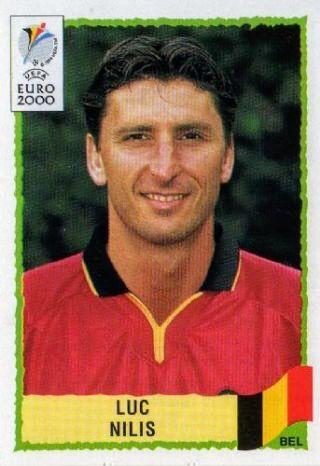 Luc Nilis of Belgium. Euro 2000 card.