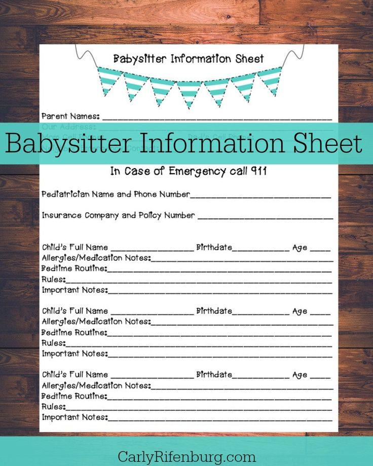 Best  Babysitter Printable Ideas On   Babysitter