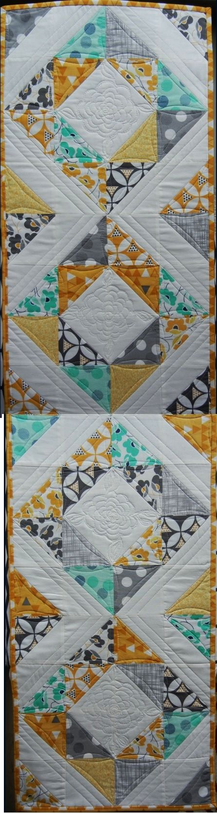 """my project: """"spring table runner """". (fabric is Color Theory by Moda ) Pattern inspired by the table runner of Pam Biswas http://www.fonsandporter.com/articles/spring-table-easy-quilt-project Actual project made from 8.5"""" squares according to free tutorial by Jenny Doan from the Missouri Star Quilt Company https://www.youtube.com/watch?v=HvlKs7sEAl0 Free motion flower according to tutorial on theInboxJaunt (she's fantastic!) http://theinboxjaunt.com/quilt/free-motion-quilting-tutorials/"""