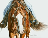 Portrait of a Western Pleasure Horse in Colored Pencil. $45.00, via Etsy.