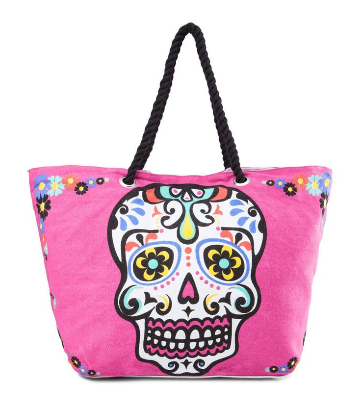 The Market Carryall Rubi collection, patterned skull simple tote bag with rope detail-like the grab handles. Great for your daytime occasion! Using textile material and has pink skull on details. The main compartment with details magnetic buttons. The bag has fabric inner lining and also has pockets inside, gadgets sleeve. Twin grab handles and handle drop 18 cm.   http://www.zocko.com/z/JJUyx