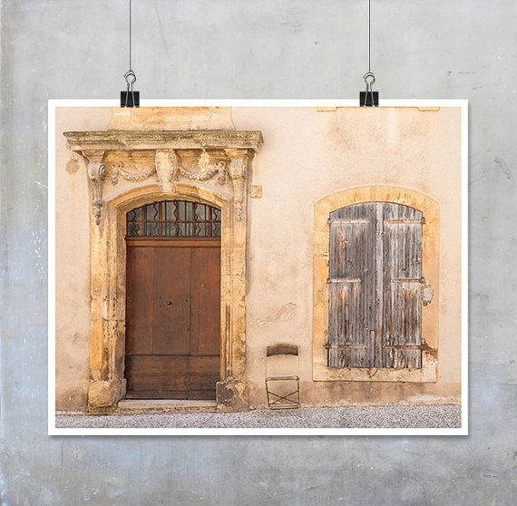 French Provence Photography brown wood door by EyeshootPhotography (Art & Collectibles, Photography, Color, Window Shabby Chic, Scruffy Faded, Fine Art Photography, Wall Art Home Decor, Photo Print Art, Provence France, Arles House Street, Europe Aart, 10x8 20x16 11x14, travel photography, door window chair, French Provence, EtsyMcr Fpoe England)
