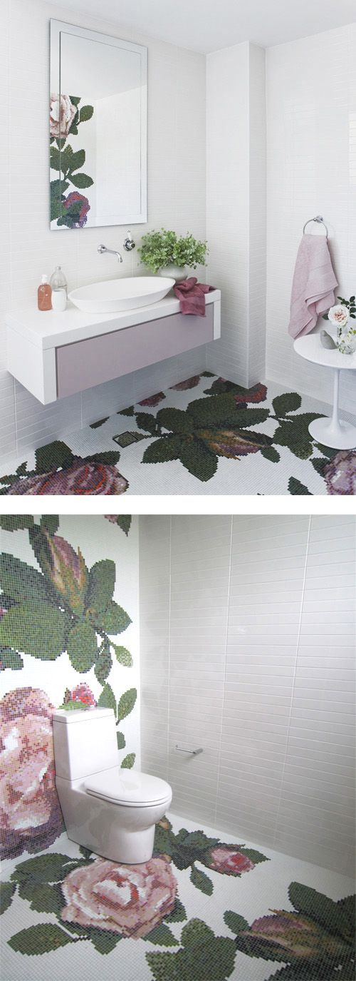 Floral Mosaic Tiled bathroom. So pretty :) but those tiny tiles would be horrible to clean