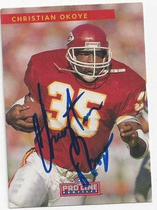Autographed 1992 Pro Line 316 Christian Okoye Kansas City Chiefs