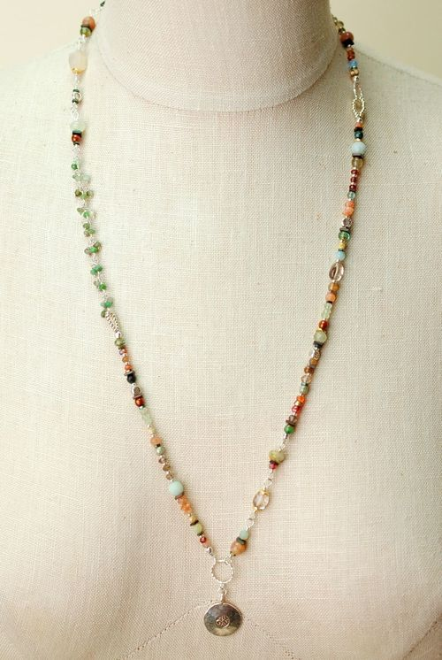 Gentle Breeze- Long gemstone collage with sterling silver pendant necklaces are hand made   in our Floyd, VA USA studio