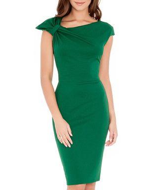 Emerald green gathered dress Sale - Goddiva Sale
