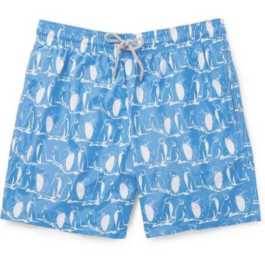 Blue #Vilebrequin with white #penguins swim shorts