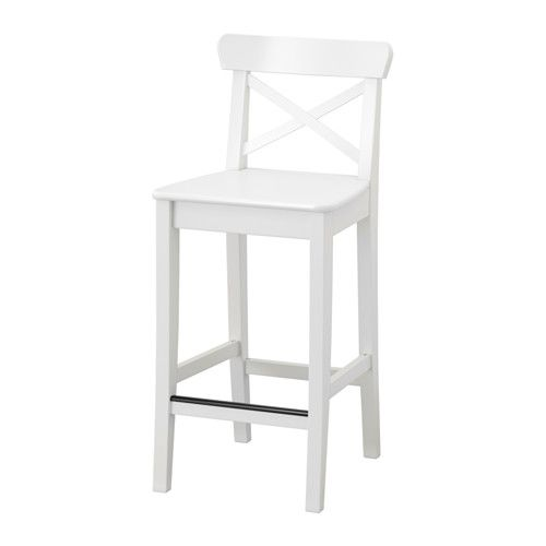 INGOLF Bar stool with backrest, white  $59.00 The price reflects selected options Article Number: 101.226.47 Footrest for extra sitting comfort.