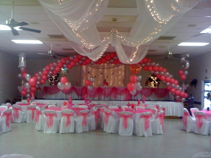 Quinceanera hall decorations gala rental the perfect for Balloon decoration ideas for quinceaneras