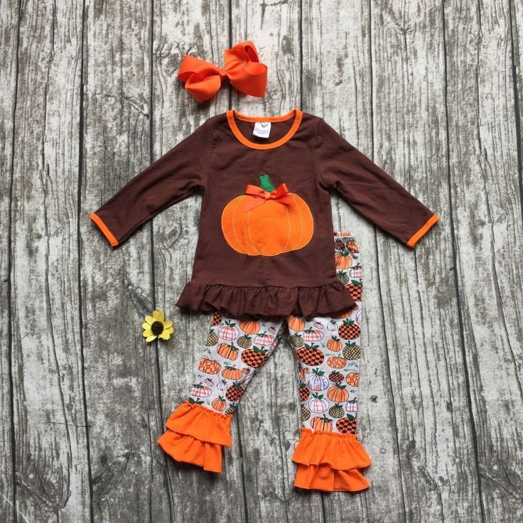 baby girls Halloween clothing girls pumpkin outfits children children boutique clothing bbay girls Halloween party set with bows