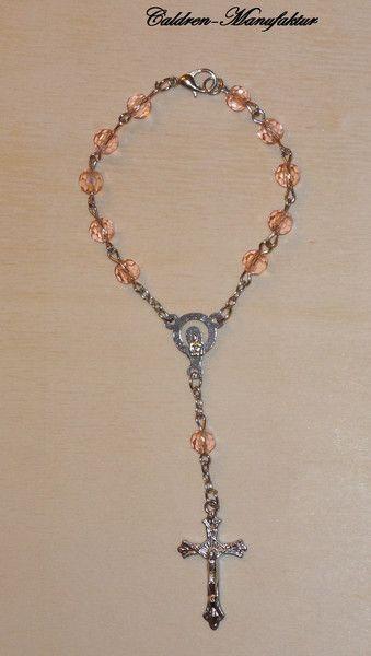 Medaillions & Amulette - 10er Rosenkranz Mini Rosenkranz Glasperlen rosa - ein Designerstück von Caldren bei DaWanda