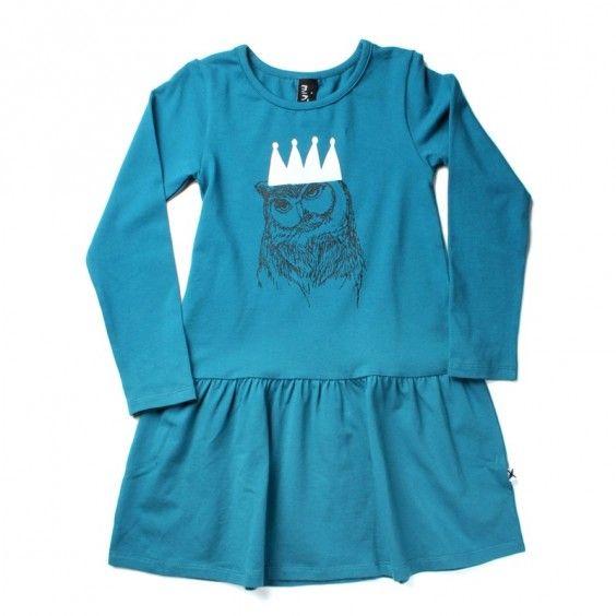 Minti Owl Queen Gather Dress - Emerald