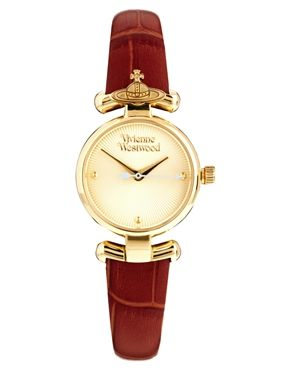 Image 1 ofVivienne Westwood Orb Brown Leather Strap Watch