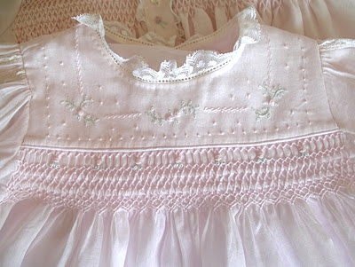 Old Fashioned Baby.. What do I love more.. The embroidery or the smocking?