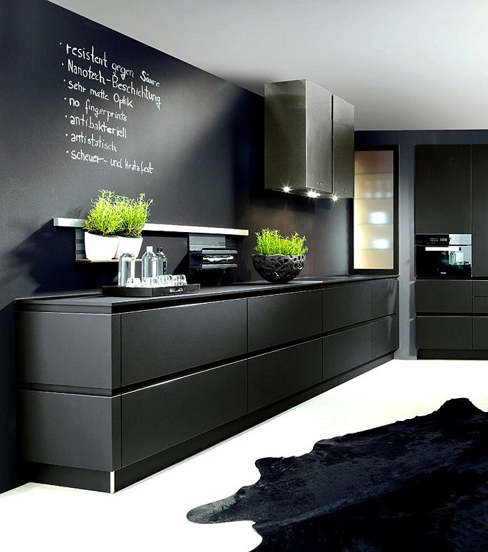 marvelous Black Kitchens Designs #1: Stunning black kitchen design, kitchen trends for 2016 - 2017 #blackkitchen  #handleless