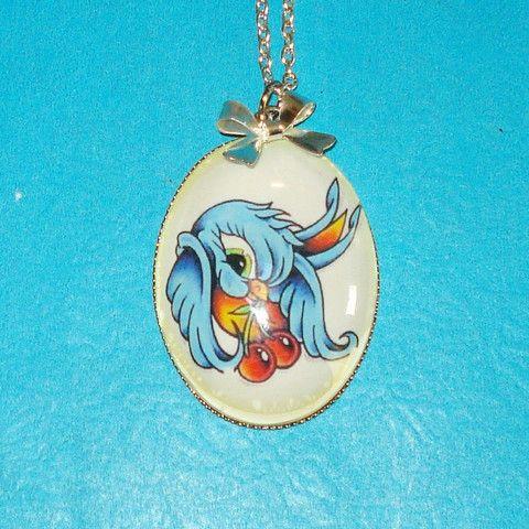 Swallow & Cherries Tattoo Necklace - Mookie Designs