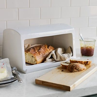 Williams-Sonoma Ceramic & Wood Bread Box: love that the lid is the cutting board.