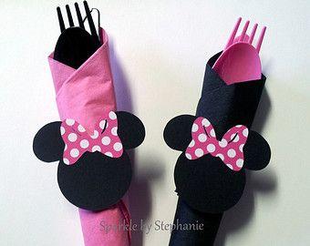 Ronds de serviette Minnie Mouse avec couverts et serviettes de table - Set de 12 ans et + - vous choisissez la proue
