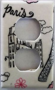 Paris Themed Bathroom Set | Eiffel Tower Paris Pink Glitter Light Switch Outlet Plate Bedroom Wall ...