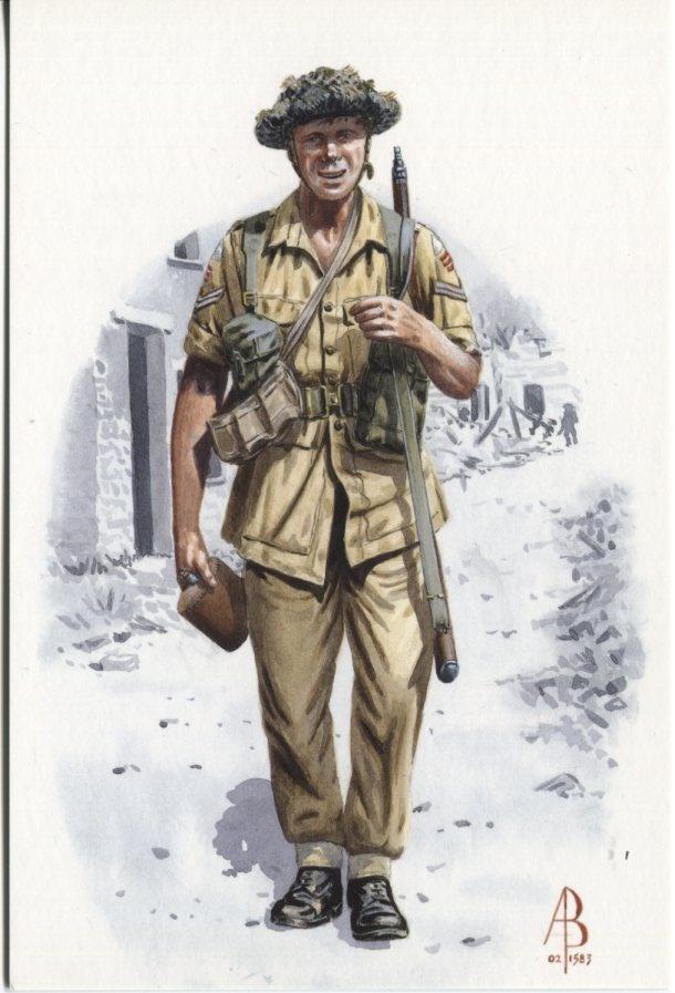 Alix Baker Postcard - AB32/7 Tercentenary 1702-2002 Corporal, 1st Battalion Duke of Wellington's Regiment (West Riding) Pantellaria 1943
