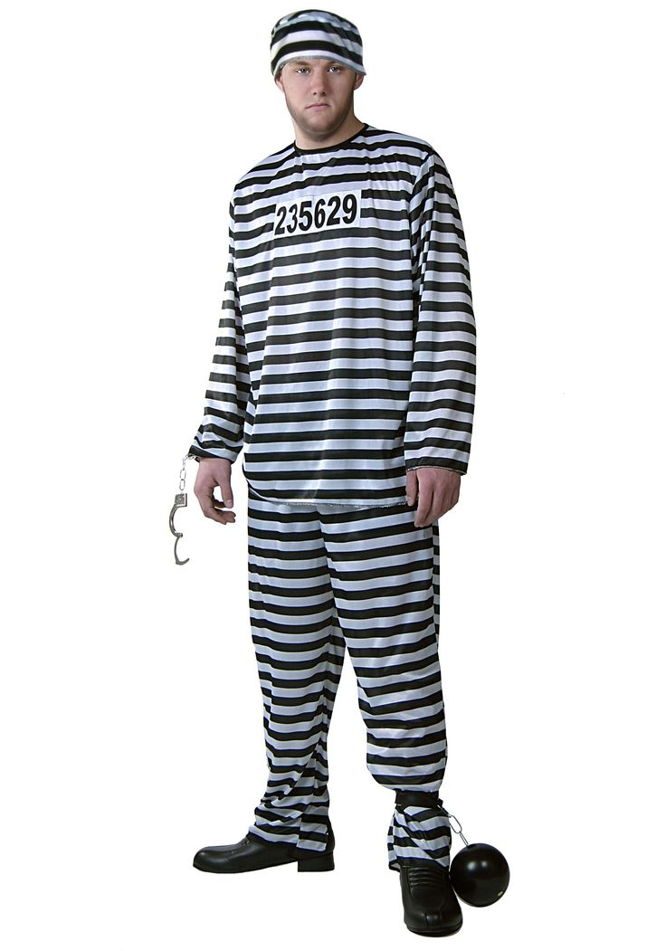 Add this Mens Prisoner Costume to your cops and robbers group costume this Halloween for a great look at a cheap price.