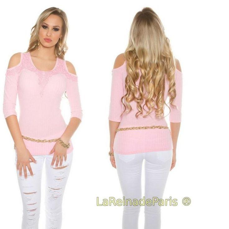 Blusa rosa bebe a hombro frio