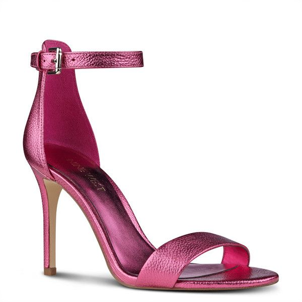 Nine West Mana Open Toe Sandals ($79) ❤ liked on Polyvore featuring shoes, sandals, pink metallic, pink metallic shoes, open toe sandals, open toe shoes, nine west shoes and pink open toe shoes