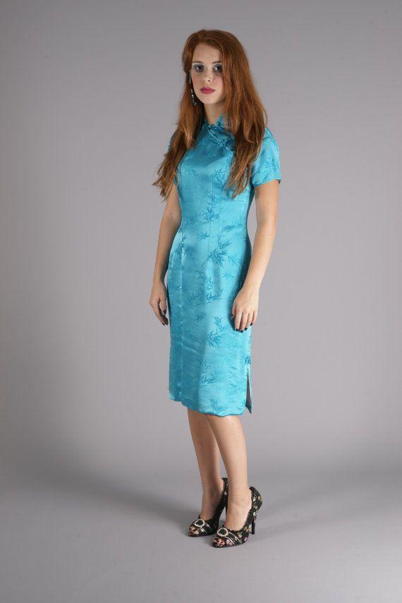 Vibrant Vintage 60's Oriental/Asian Aqua Blue by VampVintageWear