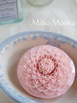 'carved' soap in pink