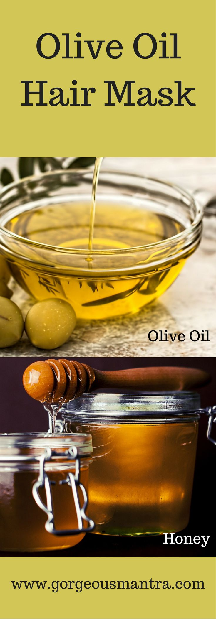 Olive oil hair masks are great for nourishing hair. This hair mask is made with olive oil and honey which are excellent for treating dryness . Hair feels super smooth and radiant after use!